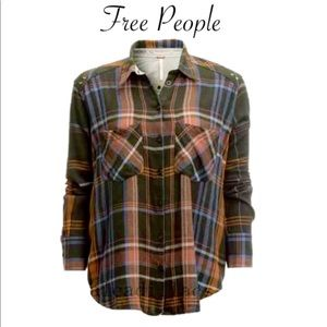 Free People Womens Wesley Plaid Button Up Shirt